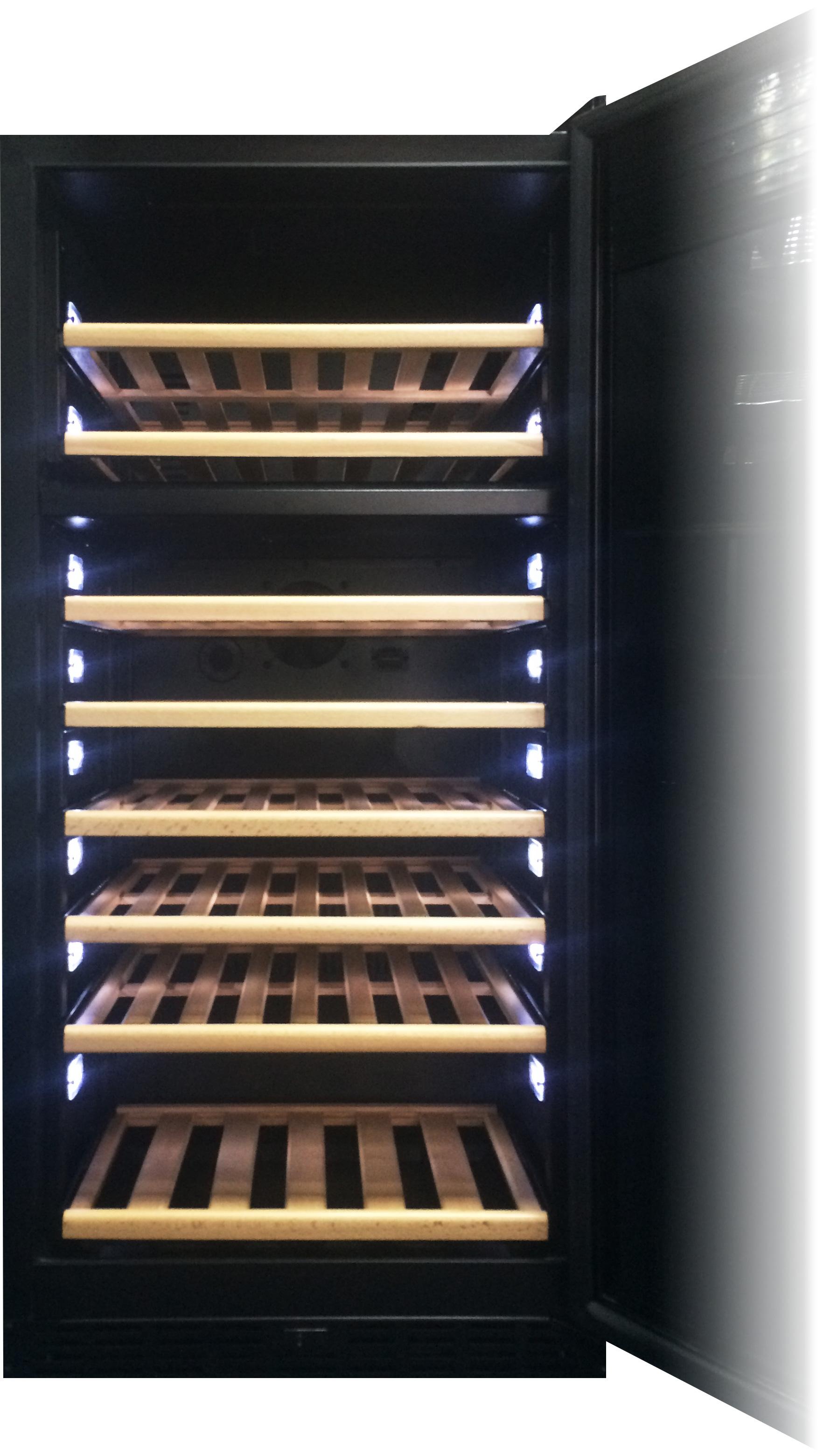 エディフラン カーヴ&セラー EF3-W-BG はワインに温度変化を与えるカーヴの機能と従来のワインセラーの両方の機能を備えています